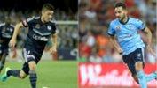 Melbourne Victory winger Marco Rojas and Sydney FC playmaker Milos Ninkovic.