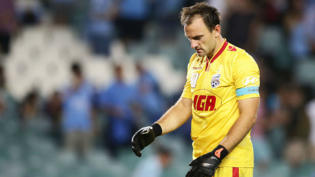 A dejected Eugene Galekovic following full-time at Allianz Stadium on Friday night.