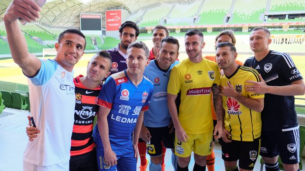 Some of the A-League's biggest stars at the competition's media day.
