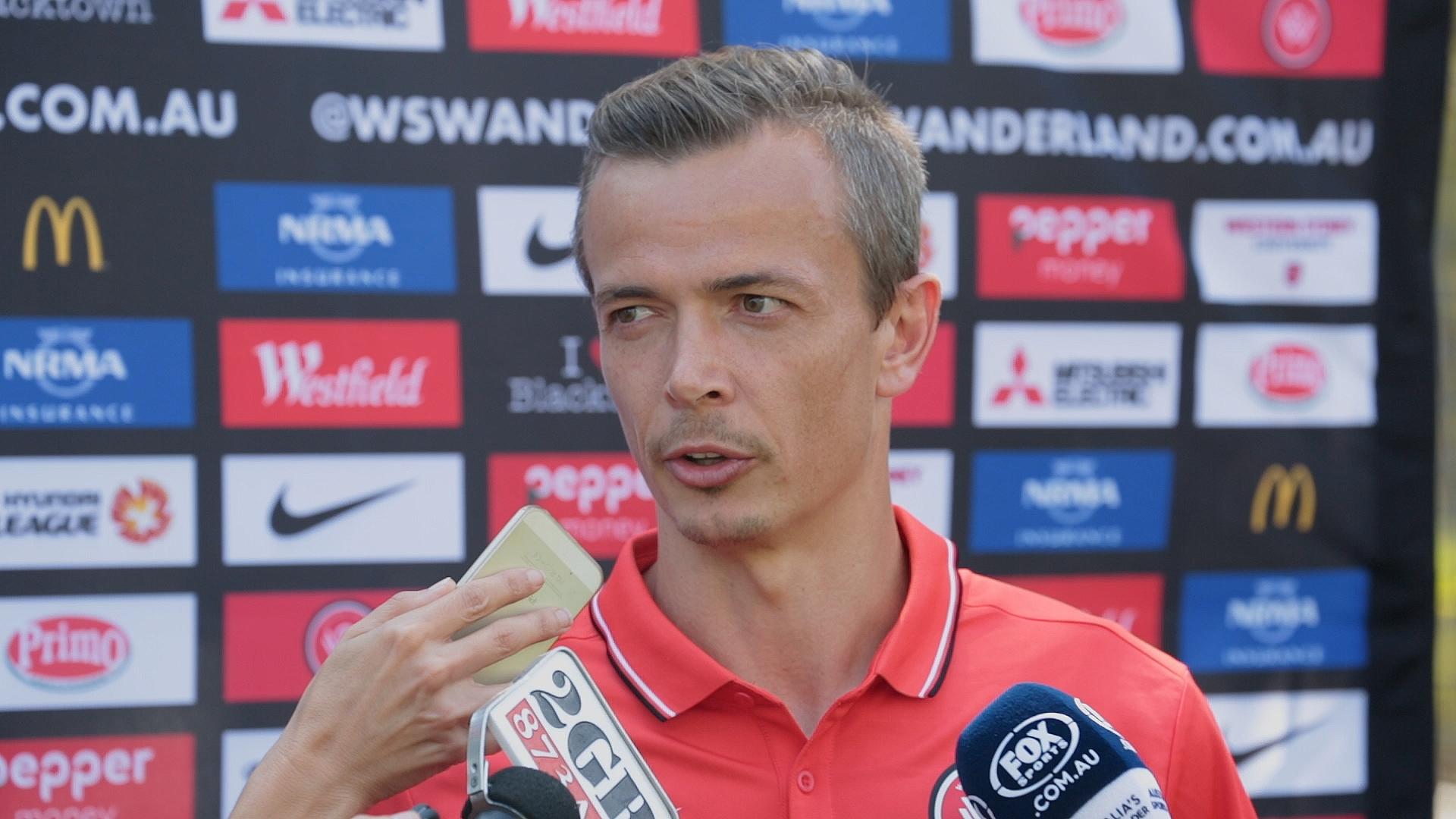 Wanderers striker Ryan Griffiths addresses media ahead of this weekend's Sydney Derby.
