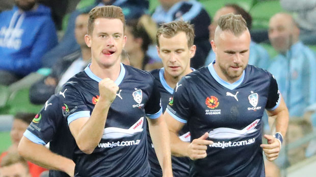 Brandon O'Neill celebrates after scoring in Sydney FC's 3-1 win over Melbourne City.