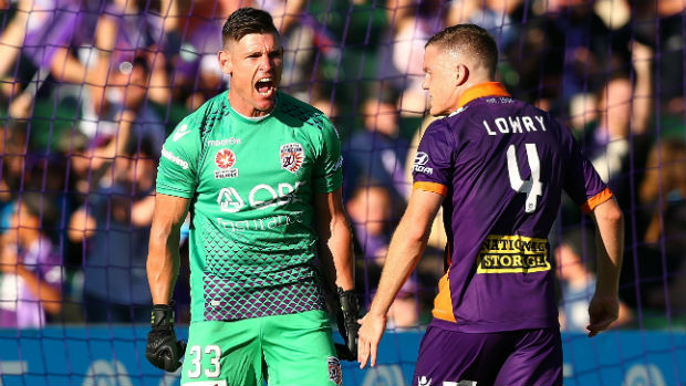 Glory goalkeeper Liam Reddy reacts to saving a first-half penalty against Victory at nib Stadium on Saturday night.