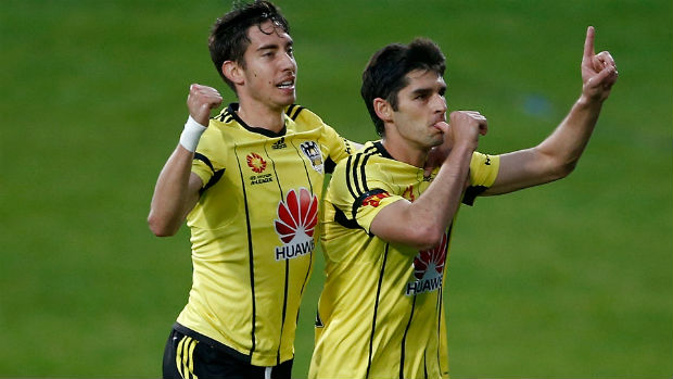 Phoenix attacker Gui Finkler celebrates opening the scoring against Glory on Saturday.