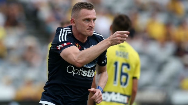 Besart Berisha celebrates opening the scoring against the Mariners at Central Coast Stadium in Round 20.