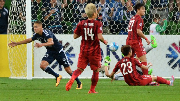 Melbourne Victory's Jai Ingham celebrates scoring their ACL campaign opener against Shanghai SIPG.