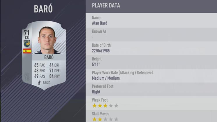 Alan Baro - FIFA 18
