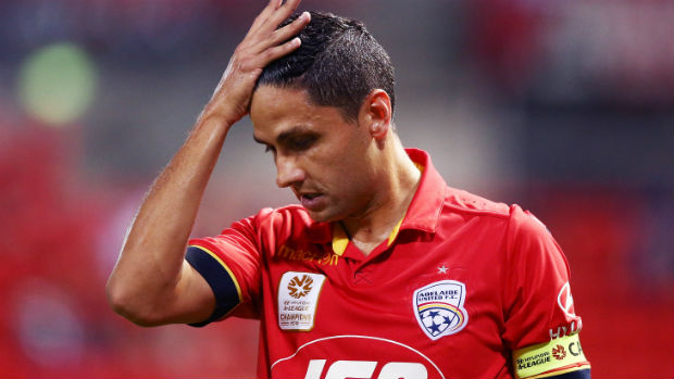 A disappointed Marcelo Carrusca after Adelaide concede a goal against Perth.