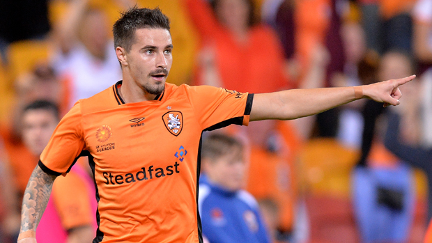 Jamie Maclaren celebrates after scoring against the Wanderers.