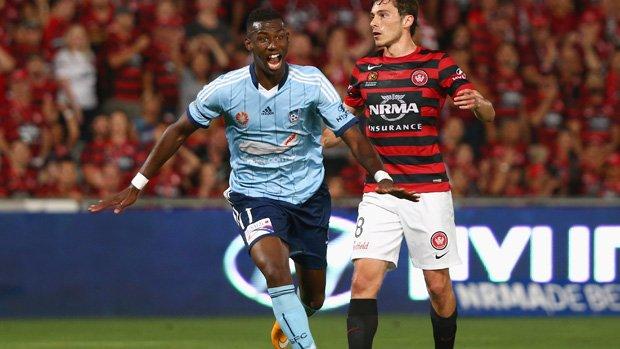 Bernie Ibini celebrates his wonderstrike against Western Sydney Wanderers.