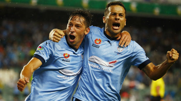 Sydney FC forwards Bobo and Filip Holosko celebrate combining for the winner against Victory.