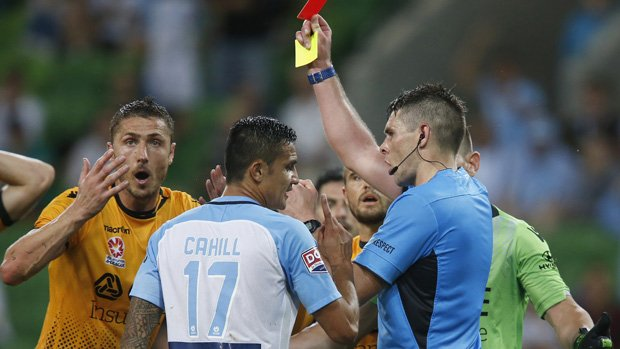 Dino Djulbic is shown a red card in Glory's 3-3 draw with Melbourne City.