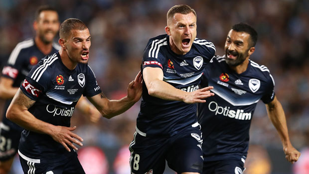 Besart Berisha celebrates after opening the scoring for Victory in the Hyundai A-League Grand Final.