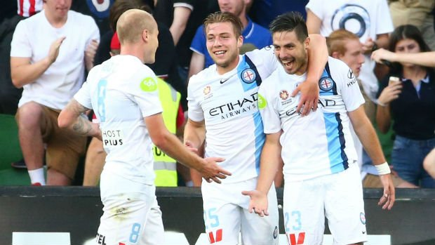 Melbourne City players celebrate one of their 37 goals scored this season up to Round 15.