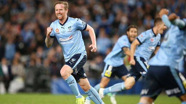Sydney FC players celebrate Rhyan Grant's equaliser in the Hyundai A-League Grand Final.