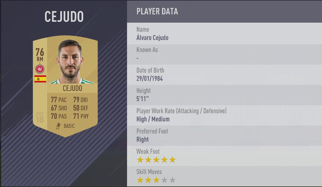 Alvaro Cejudo - FIFA 18