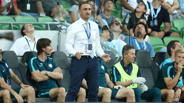 Melbourne City interim coach Michael Valkanis on the sideline during Round 14.
