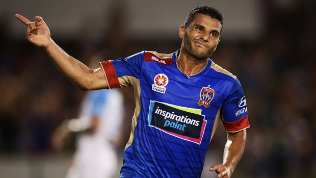 Andrew Nabbout netted both goals as Newcastle Jets downed Melbourne City 2-1 on Friday night.