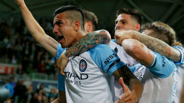 Tim Cahill celebrates scoring the winner in this season's Westfield FFA Cup Final.