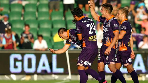 Perth Glory players celebrate Nebojsa Marinkovic's equaliser for Glory at nib Stadium.