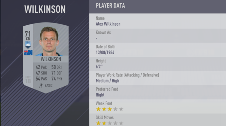 Alex Wilkinson - FIFA 18