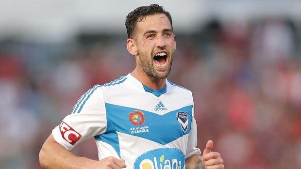 Victory skipper Carl Valeri celebrates scoring against the Wanderers last season.