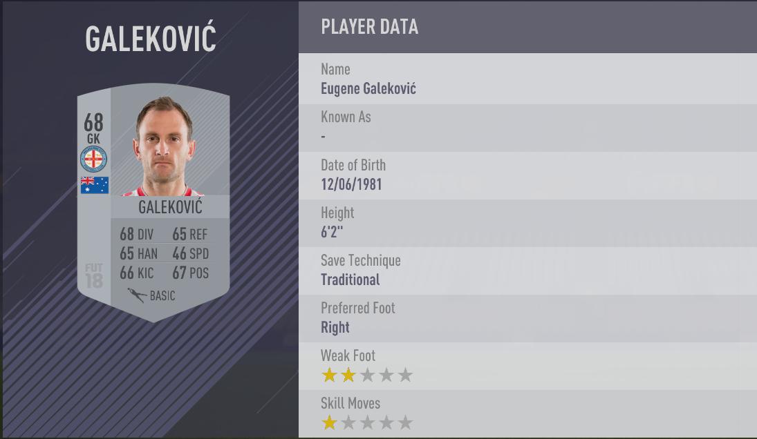 Eugene Galekovic - FIFA 18