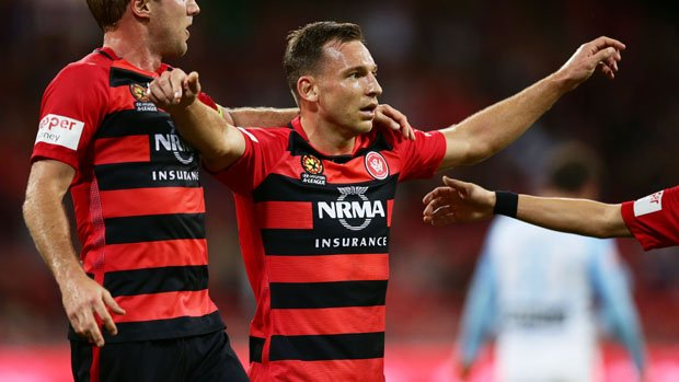 Brendon Santalab's muted goal celebrations have become a feature this season.