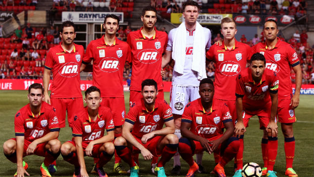Adelaide United players ahead of kick-off in their Round 19 clash against Perth at Coopers Stadium.