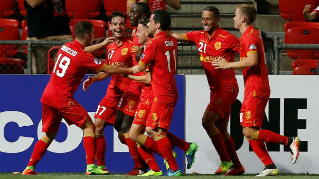 Adelaide United celebrate scoring against Jeju United in the ACL on Wednesday night.