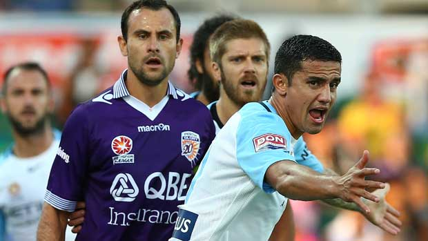 Melbourne City's Tim Cahill urges his side on against Glory at AAMI Park.