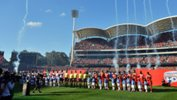 Adelaide United and Western Sydney Wanderers line up prior to the 2015/16 Hyundai A-League Grand Final.