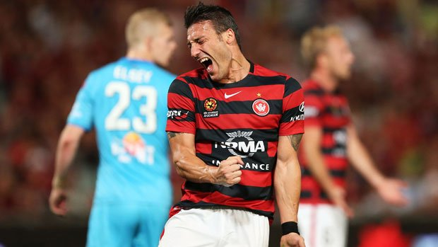 Wanderers striker Federico Piovaccari frustrated at a missed chance against Adelaide United.