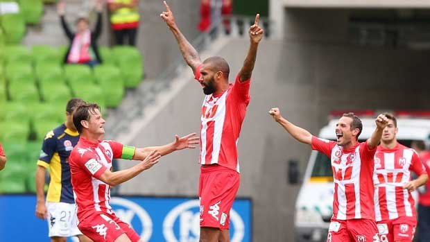Orlando Engelaar celebrates after scoring his audacious goal against Central Coast Mariners.
