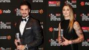 Last season's NAB Young Footballer of the Year Award winners Jamie Maclaren and Larissa Crummer.