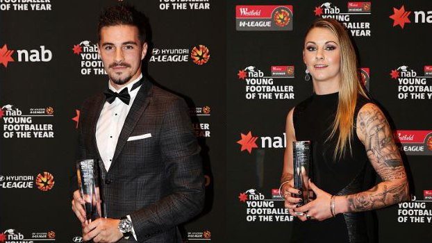 Last season's NAB Young Footballer of the Year Award winners Jamie Maclaren and Larissa Crummer.