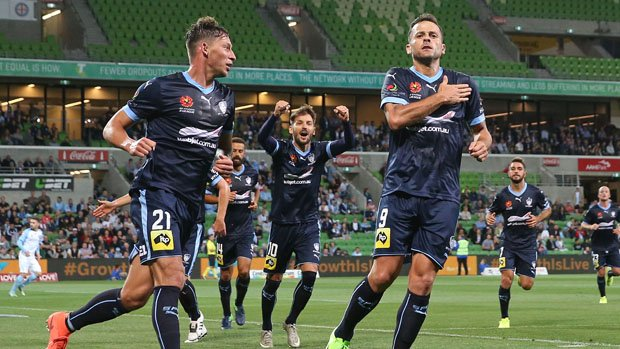 Sydney FC striker Bobo celebrates after scoring in his side's 3-1 win over Melbourne City.