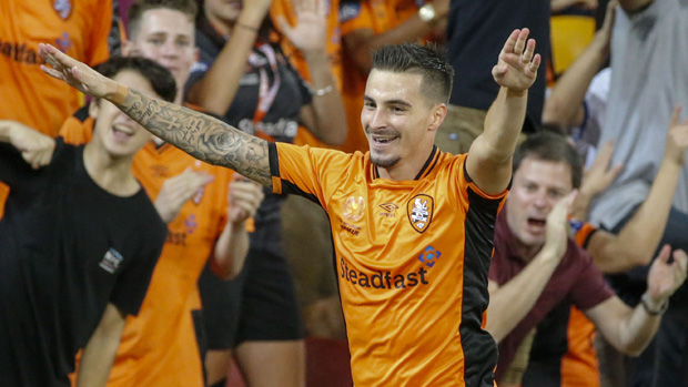 Jamie Maclaren celebrates after scoring against Melbourne Victory.