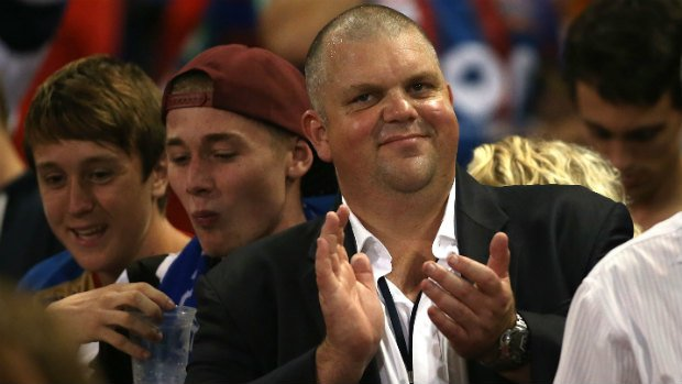 Jets owner Nathan Tinkler among the home fans at Hunter Stadium on Friday night.