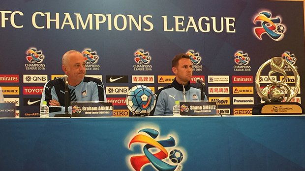 Graham Arnold and Shane Smeltz address media ahead of Sydney FC's ACL opener in Japan.