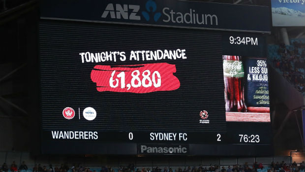 The official attendance of Saturday night's Sydney Derby at ANZ Stadium.