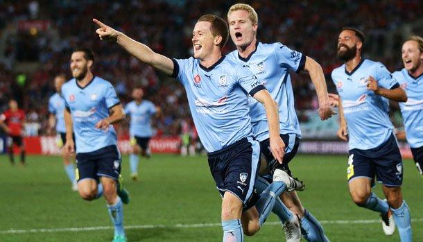 Sydney FC midfielder Brandon O'Neill celebrates scoring in the Round 1 Sydney Derby.