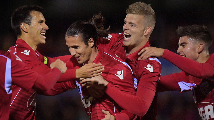 Michael Marrone scored the only goal in the Reds' 1-0 victory over Newcastle Jets in the Westfield FFA Cup on Wednesday night.