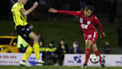 Karim Matmour attempts an audacious rabona in the Westfield FFA Cup tie against Heidelberg United