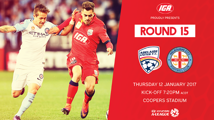 Adelaide United will take on Melbourne City on Thursday evening at Coopers Stadium.