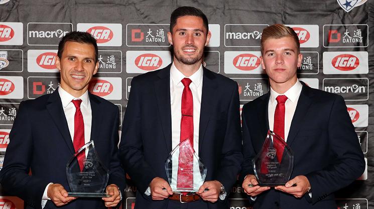 Isaias has won his second Aurelio Vidmar Club Champion Award at the gala Adelaide United Awards Night on Wednesday.