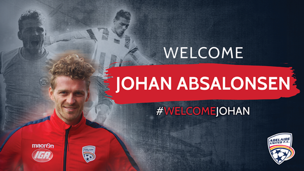 Danish winger Johan Absalonsen arrives at Adelaide United with 378 games worth of experience.