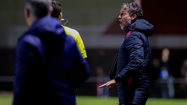 Marco Kurz gets animated on the sideline during the Reds friendly with Campbelltown City on Wednesday.
