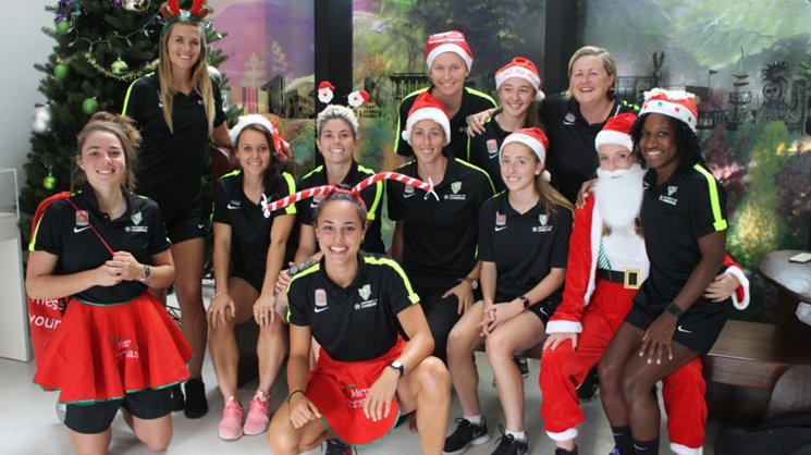 Canberra United Players visiting the Children's Hospital