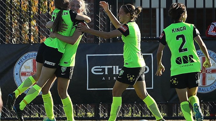 Karly Roestbakken and Nickoletta Flannery celebrate v Melbourne City