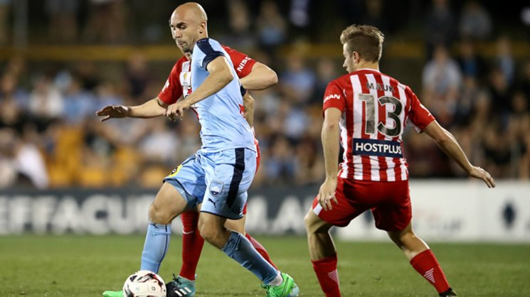 Sydney FC's Adrian Mierzejewski on the ball in their win over Melbourne City in the Westfield FFA Cup.